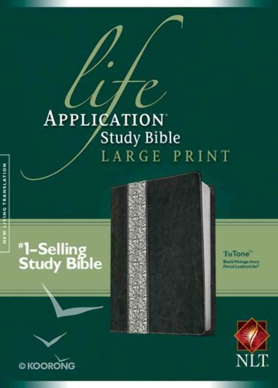 NLT Life Application Large Print Study Bible Black Vintage Ivory Floral (Red Letter Edition) Imitation Leather
