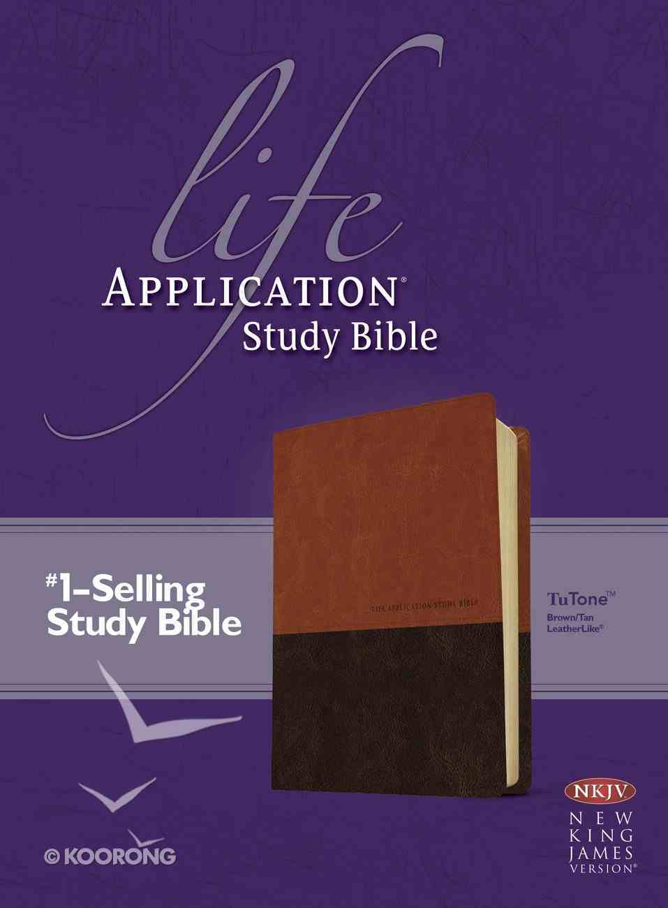NKJV Life Application Study Bible Brown/Tan (Red Letter Edition) Imitation Leather