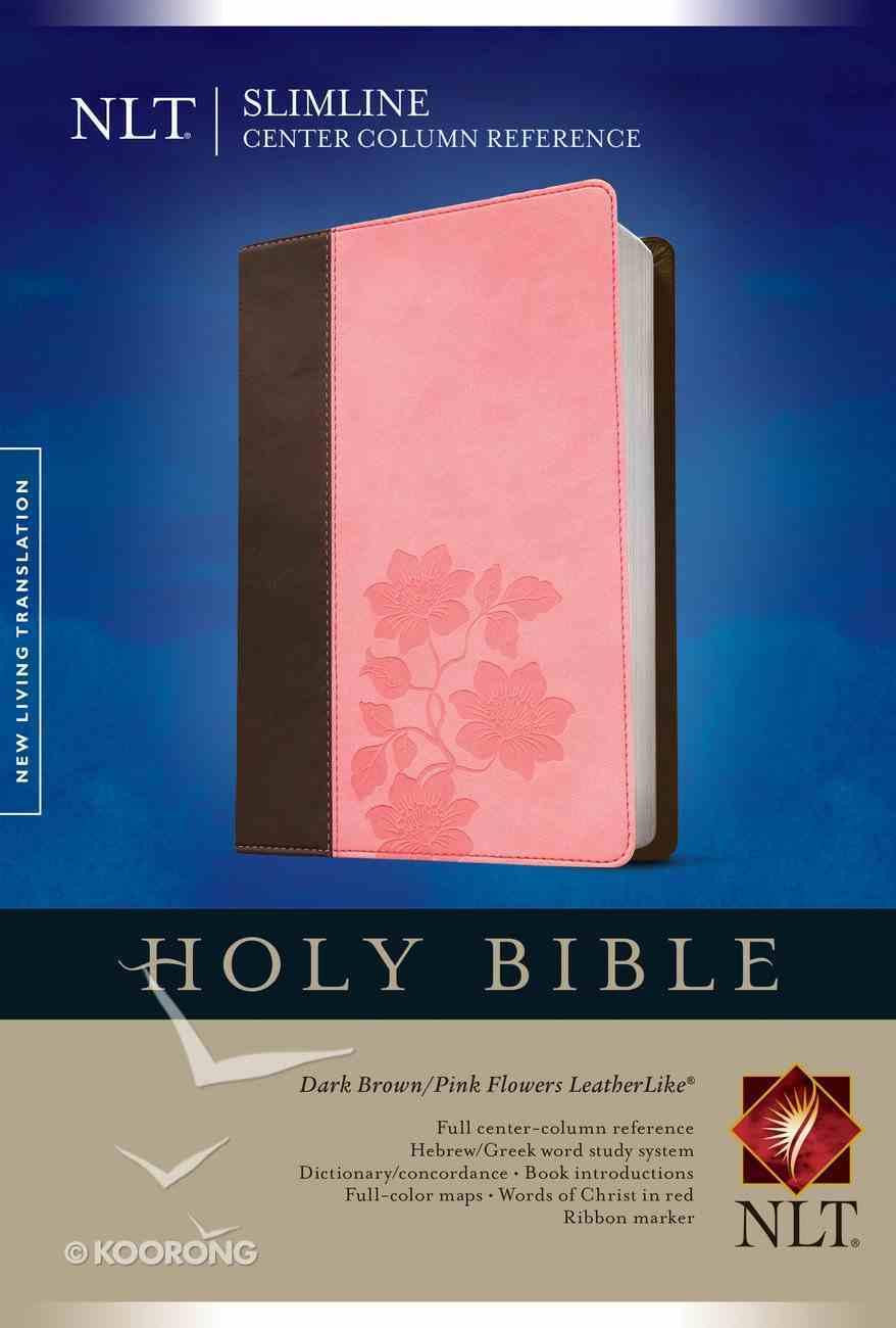 NLT Slimline Center Column Reference Bible Dark Brown/Pink Flowers (Red Letter Edition) Imitation Leather