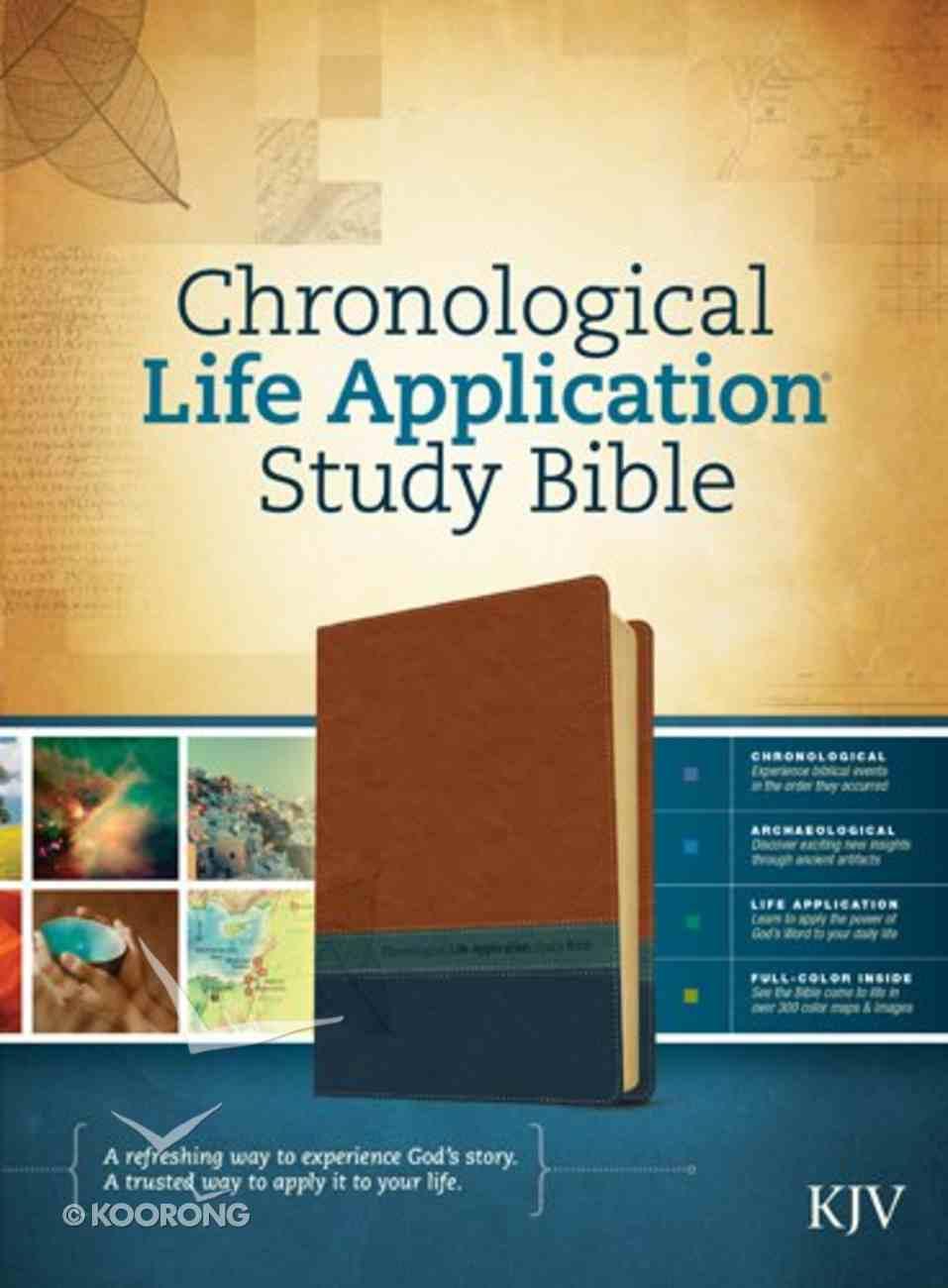KJV Chronological Life Application Study Bible Brown/Dark Teal/Blue Imitation Leather