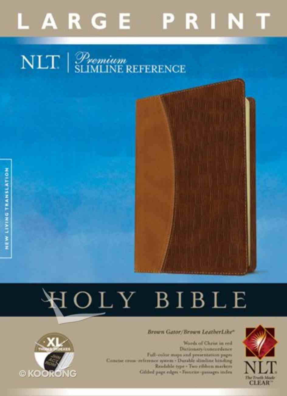 NLT Premium Slimline Reference Bible Indexed Large Print Edition Brown/Tan (Red Letter Edition) Imitation Leather