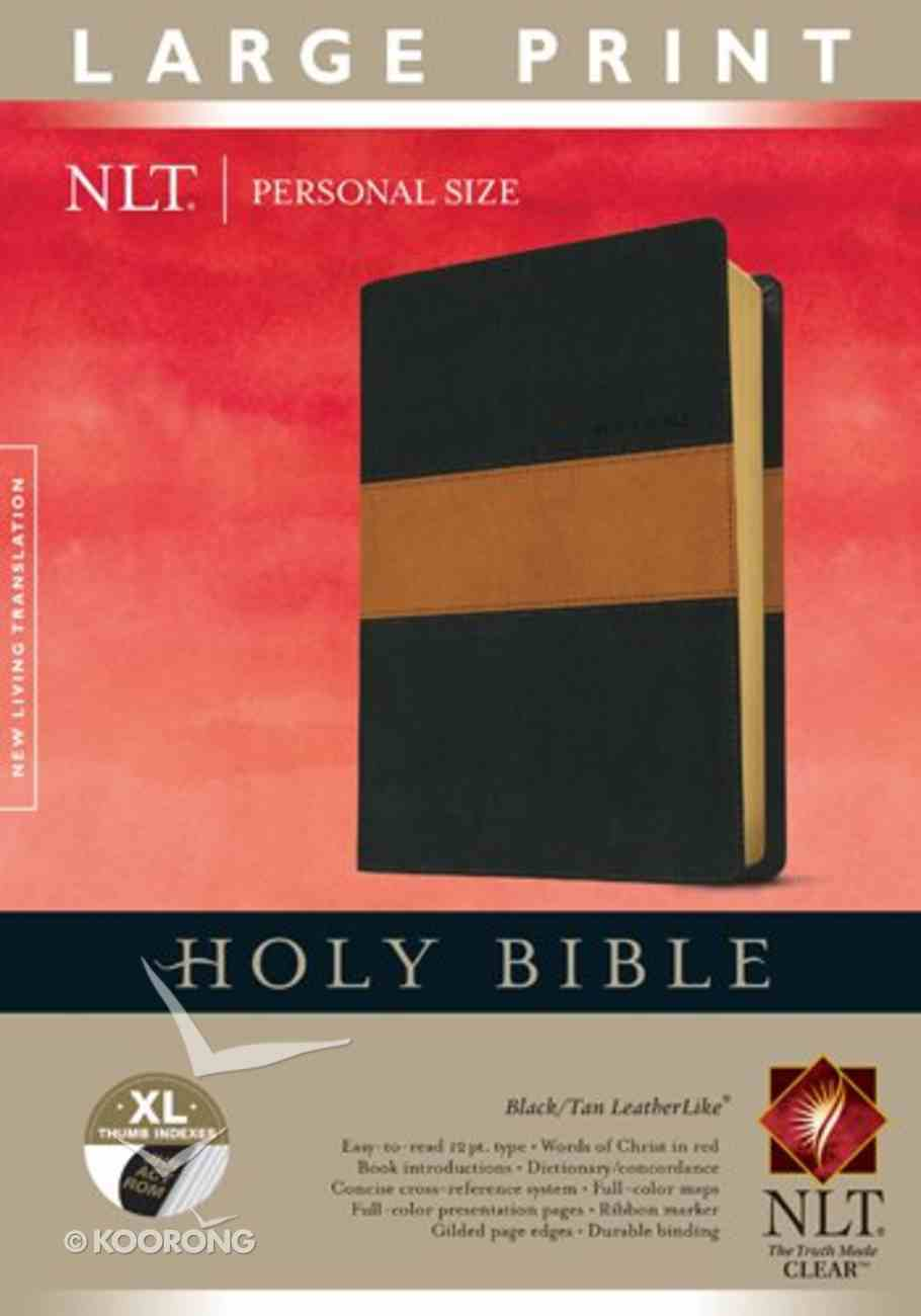 NLT Holy Bible Indexed Personal Size Large Print Edition Black/Tan Stripe (Red Letter Edition) Imitation Leather