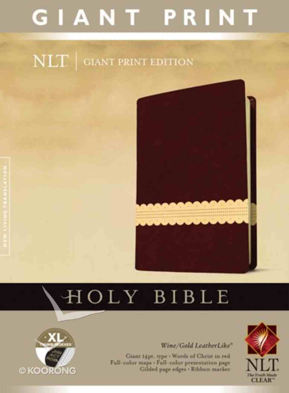 NLT Holy Bible Giant Print Brown/Cream (Red Letter Edition) Imitation Leather