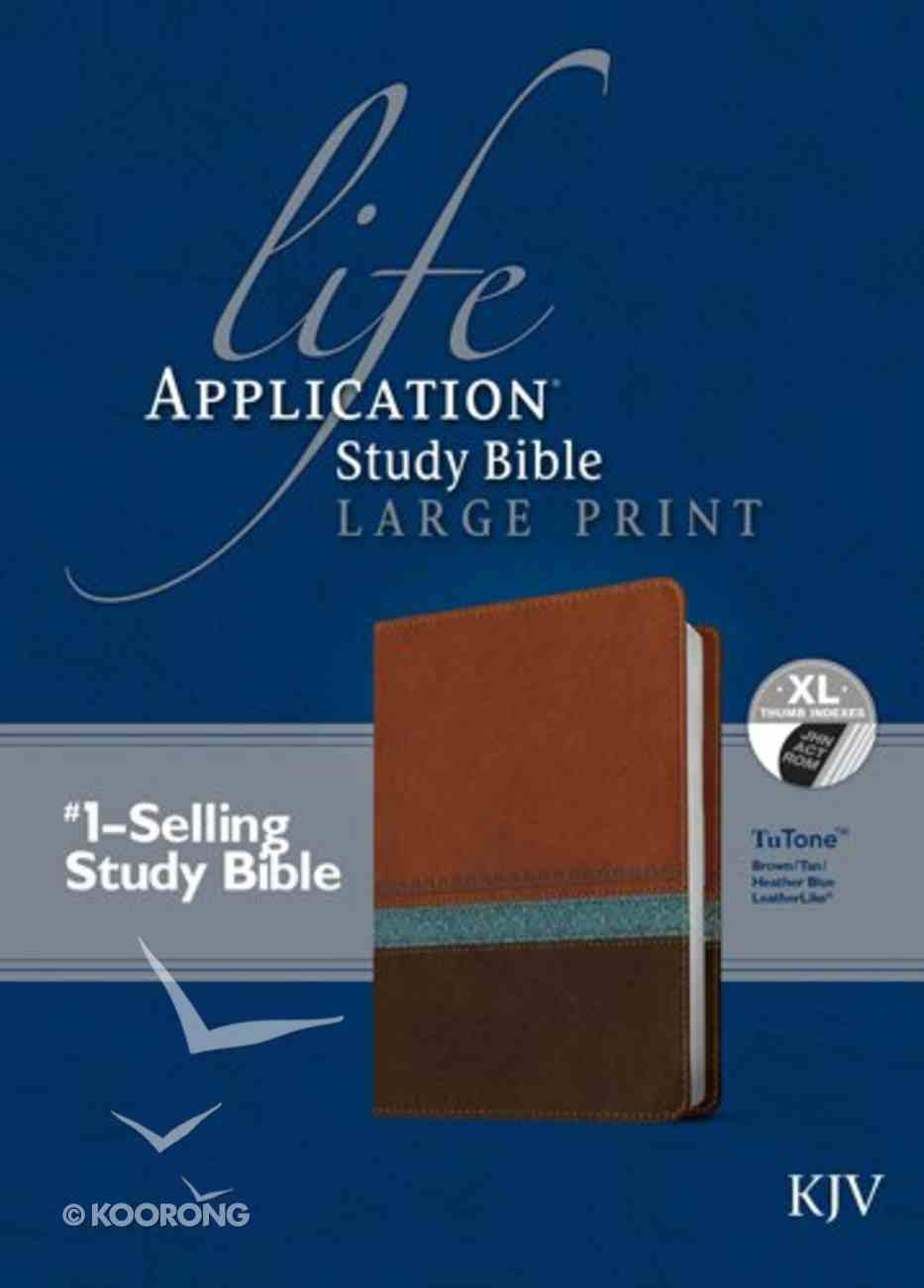 KJV Life Application Study Indexed Bible Large Print Brown/Tan/Heather Blue (Red Letter Edition) Imitation Leather
