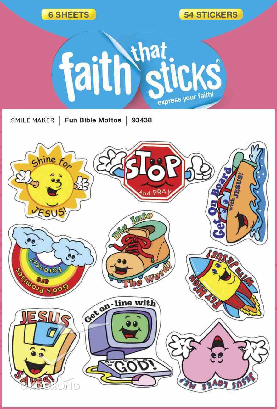 Fun Bible Mottos (6 Sheets, 54 Stickers) (Stickers Faith That Sticks Series) Stickers