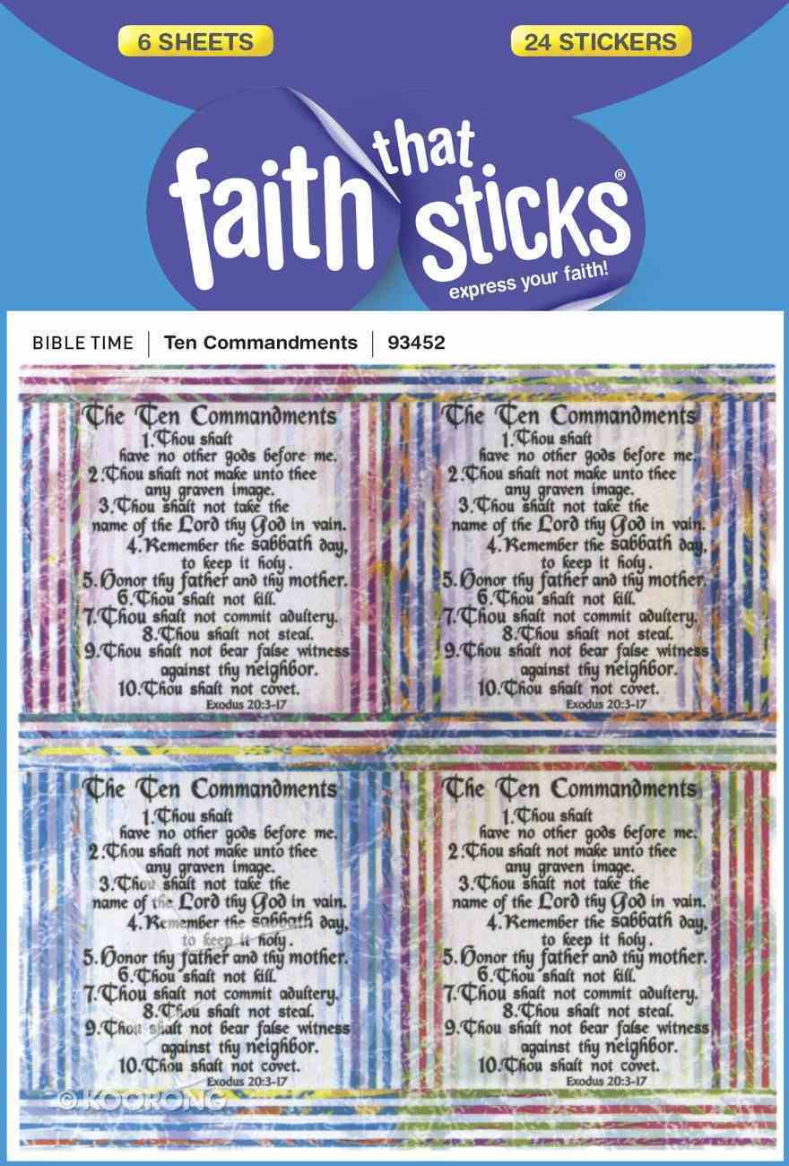Ten Commandments (6 Sheets, 24 Stickers) (Stickers Faith That Sticks Series) Stickers