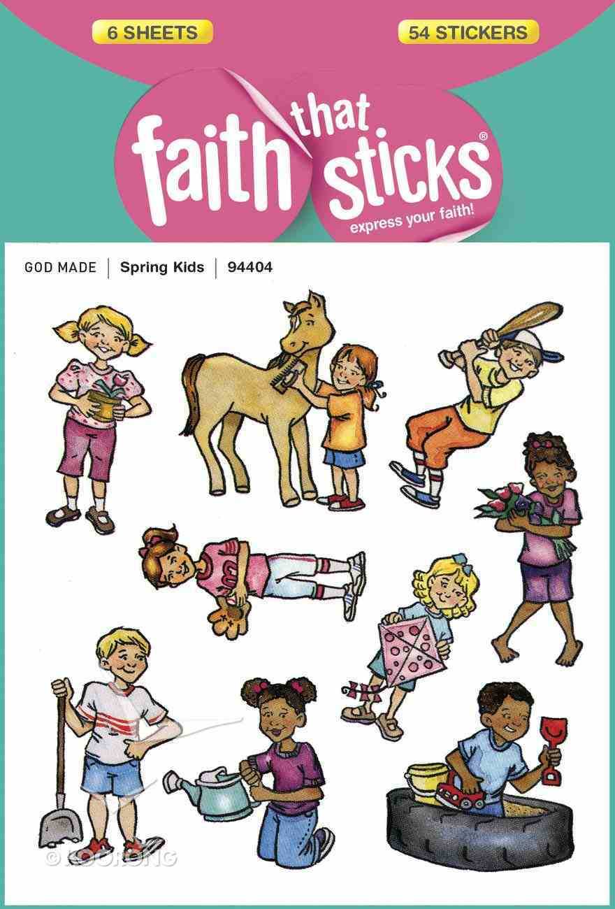 Spring Kids (6 Sheets, 54 Stickers) (Stickers Faith That Sticks Series) Stickers