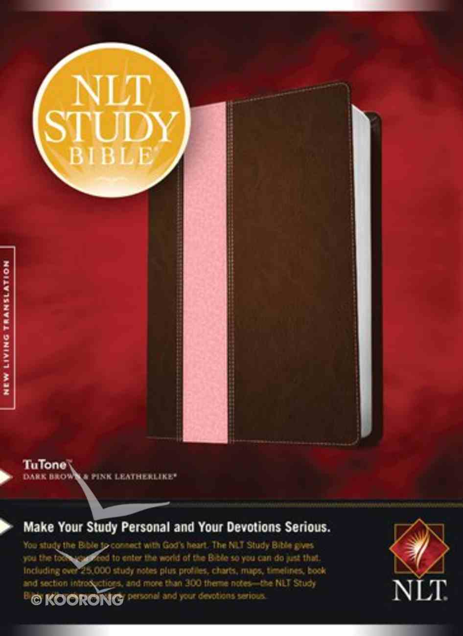 NLT Study Bible Tutone Dark Brown/Pink (Red Letter Edition) Imitation Leather