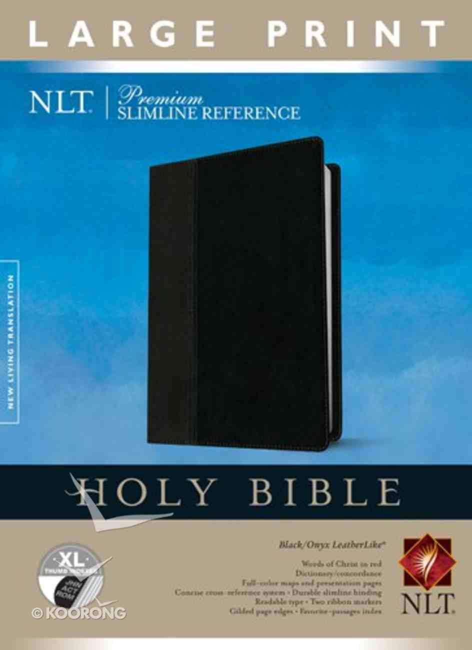 NLT Premium Slimline Reference Indexed Large Print Black/Onyx (Red Letter Edition) Imitation Leather