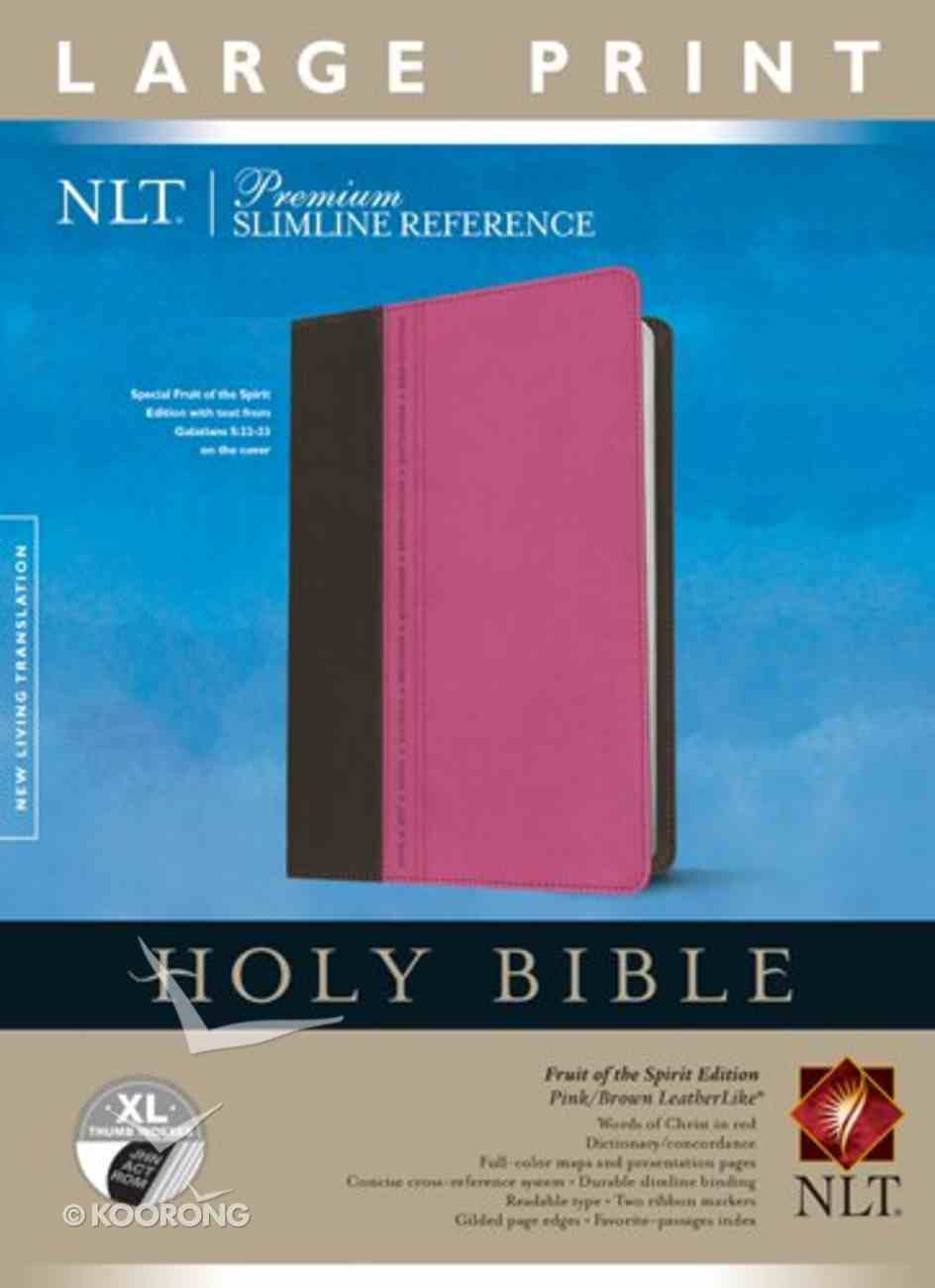 NLT Premium Slimline Reference Bible Large Print Pink/Brown Indexed (Red Letter Edition) Imitation Leather