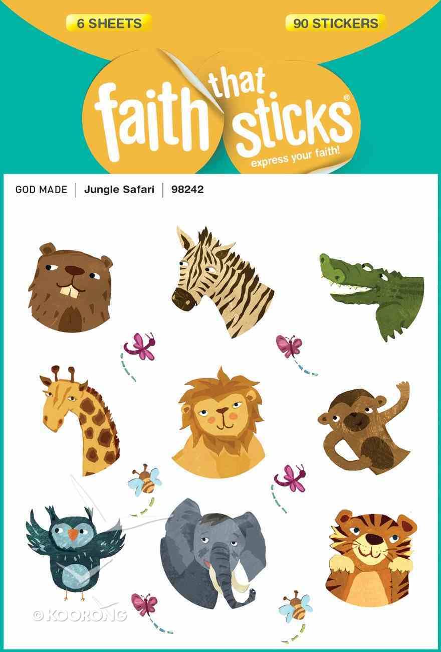 Jungle Safari (6 Sheets, 90 Stickers) (Stickers Faith That Sticks Series) Stickers