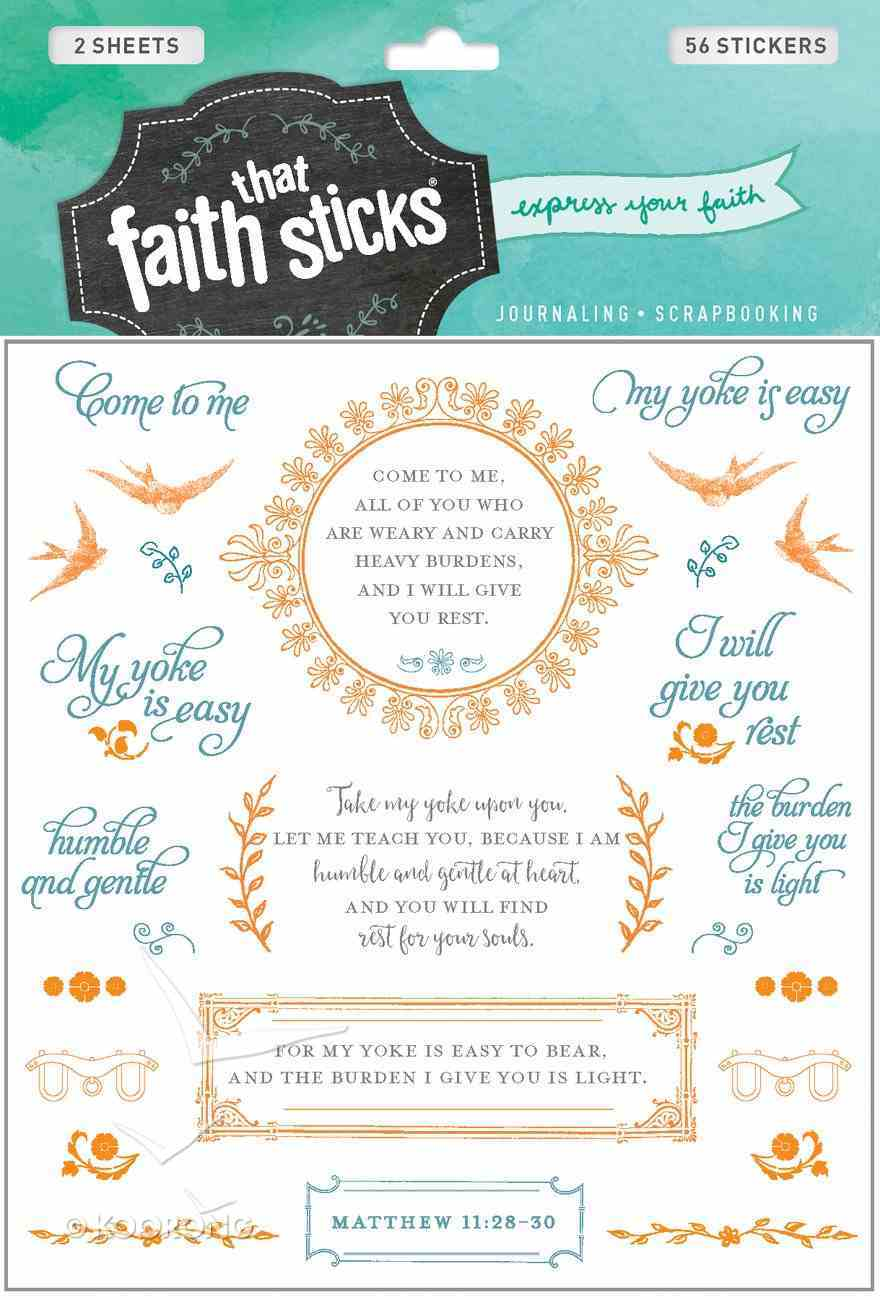 Matthew 11: 28-30 (2 Sheets, 56 Stickers) (Stickers Faith That Sticks Series) Stickers