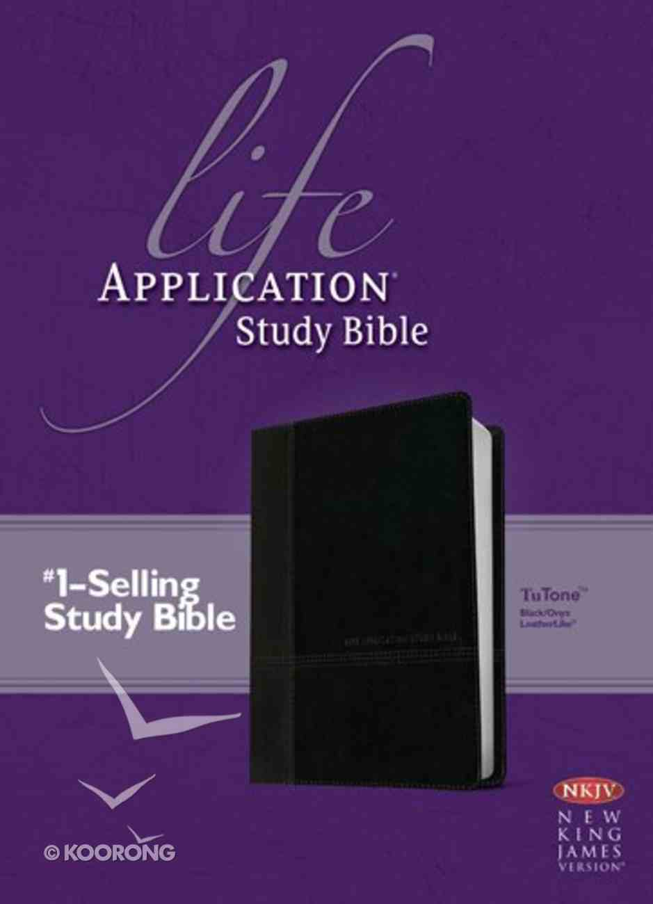 NKJV Life Application Study Bible Black/Onyx (Red Letter Edition) Imitation Leather