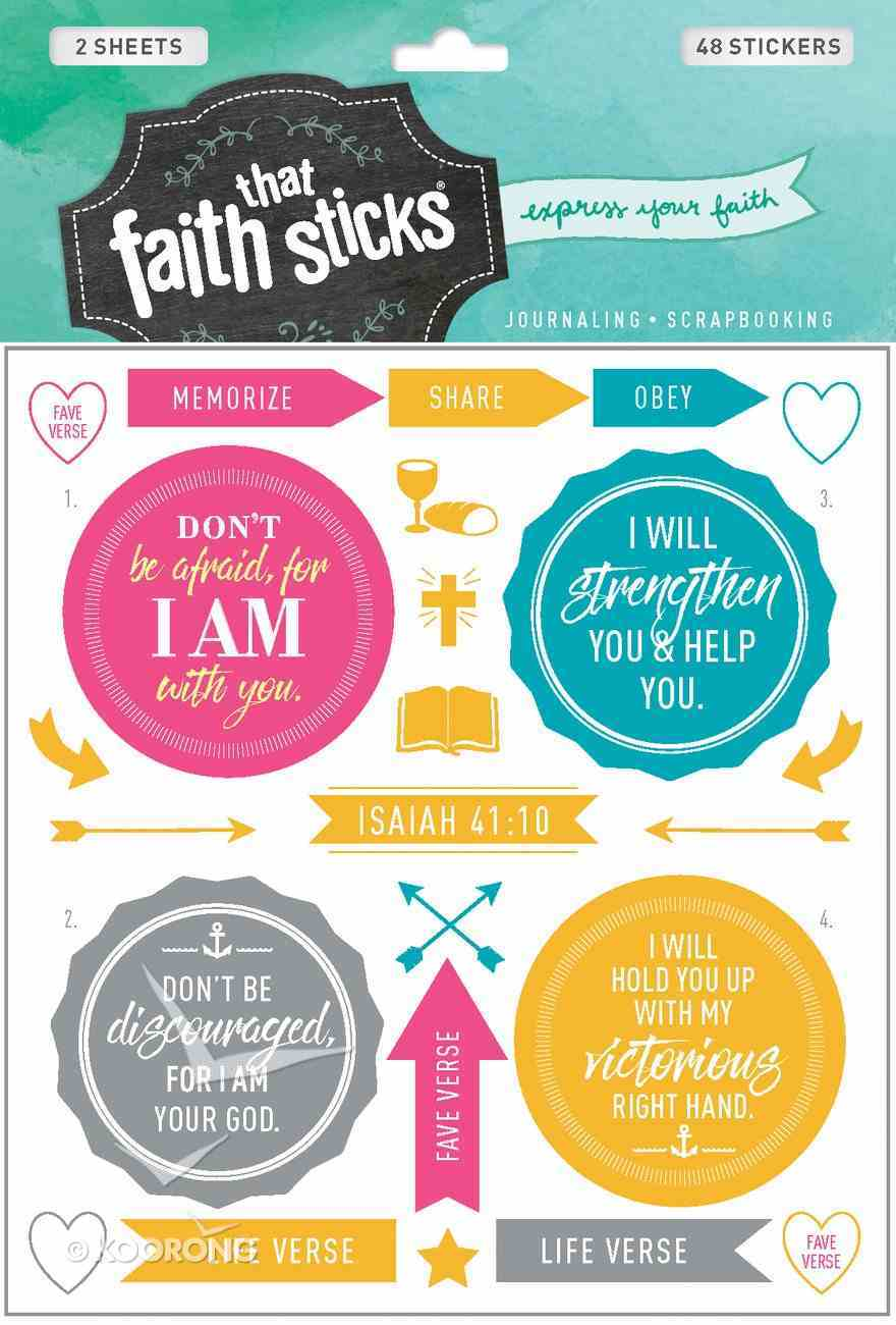 Isaiah 41: 10 (2 Sheets, 40 Stickers) (Stickers Faith That Sticks Series) Stickers