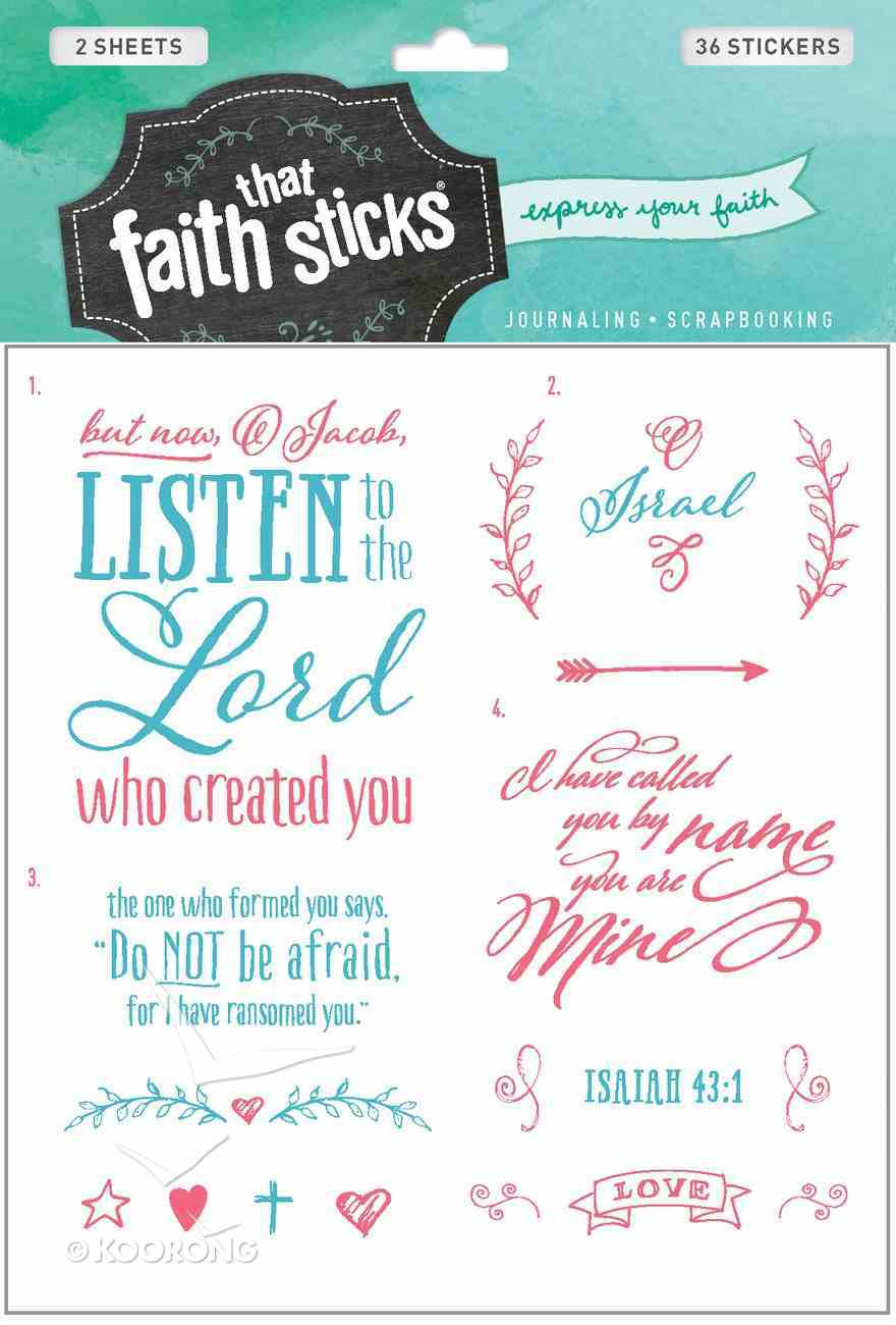 Isaiah 43: 1 (2 Sheets, 36 Stickers) (Stickers Faith That Sticks Series) Stickers