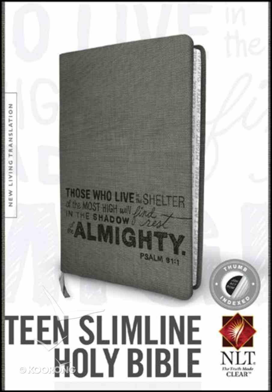 NLT Teen Slimline Bible Indexed Charcoal Psalm 91 (Black Letter Edition) Imitation Leather