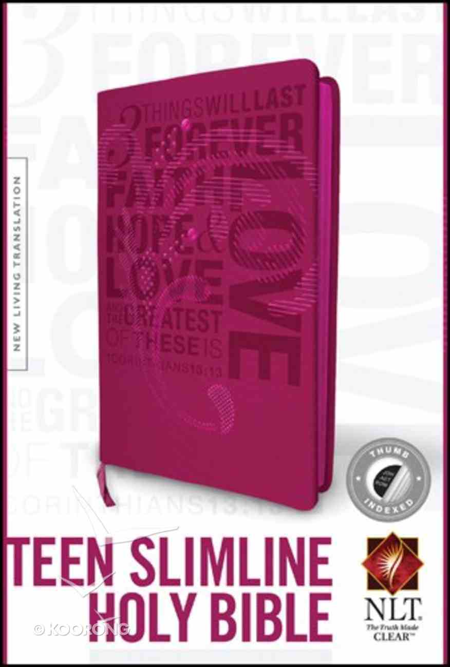 NLT Teen Slimline Bible Indexed Hot Pink 1 Cor. 13 (Black Letter Edition) Imitation Leather