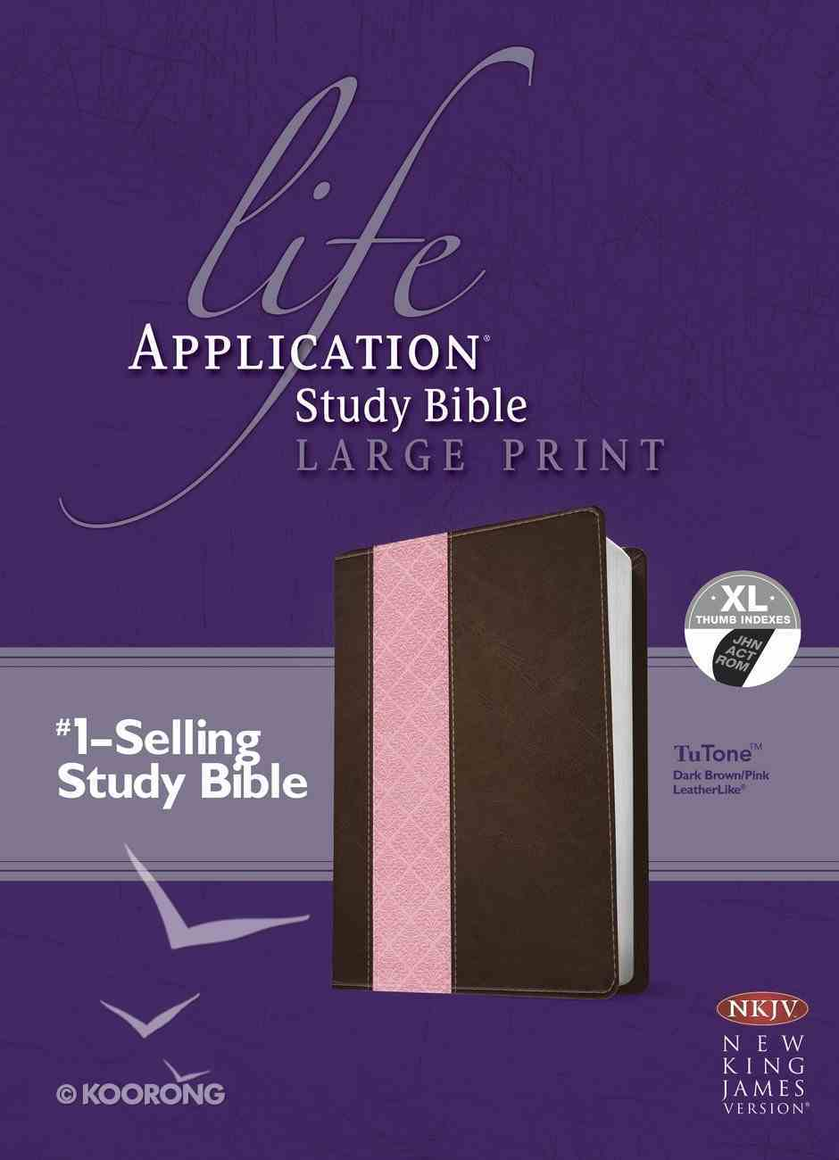 NKJV Life Application Large Print Study Bible Indexed Dark Brown/Pink 2nd Edition (Red Letter Edition) Imitation Leather