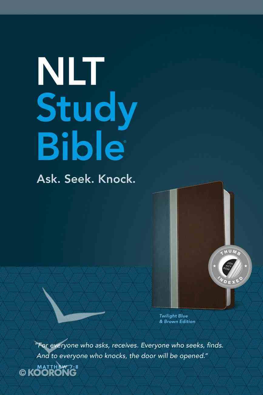 NLT Study Bible Indexed Twilight Blue Brown (Red Letter Edition) Imitation Leather