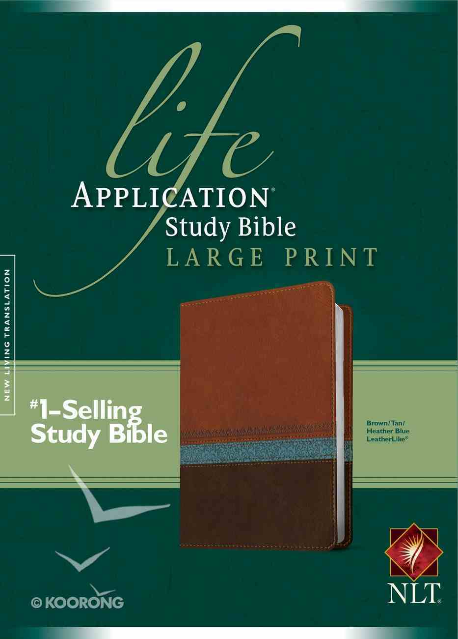 NLT Large Print Life Application Study Bible Brown Tan Heather Blue (Red Letter Edition) Imitation Leather