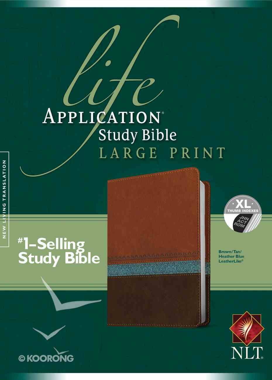 NLT Life Application Study Bible Indexed Large Print Brown Tan Heather Blue (Red Letter Edition) Imitation Leather