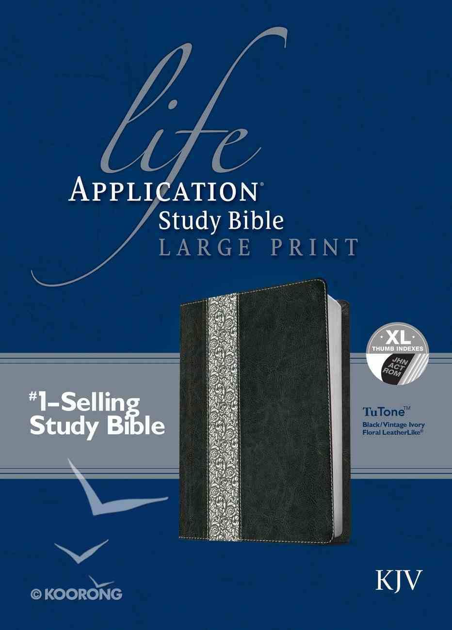 KJV Large Print Life Application Study Bible Indexed Black/Vintage Ivory Floral (Red Letter Edition) Imitation Leather