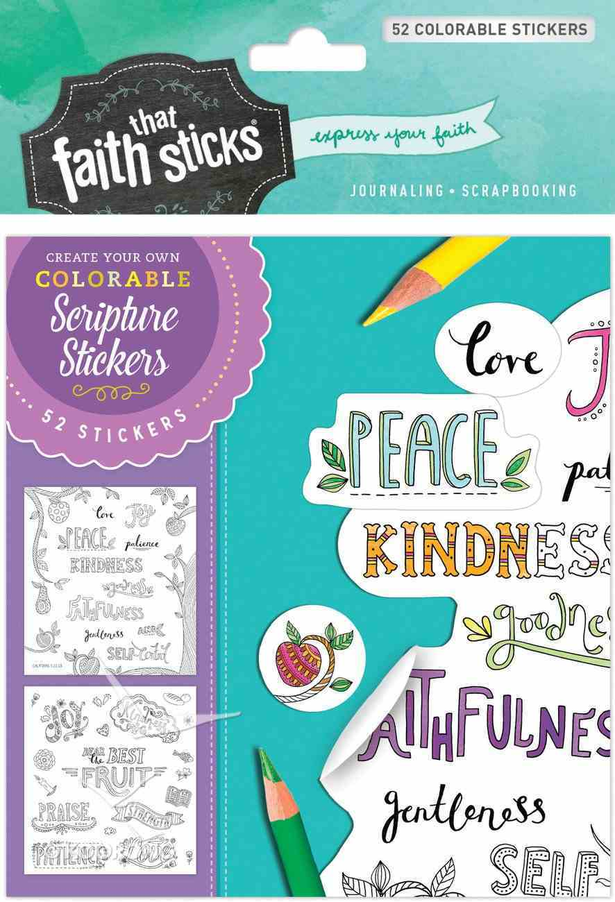 Galatians 5: 22-23 (4 Sheets, 52 Colorable Stickers) (Stickers Faith That Sticks Series) Stickers