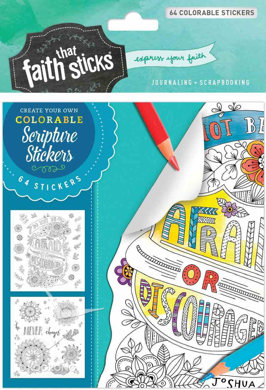 Joshua 1: 9 (4 Sheets, 64 Colorable Stickers) (Stickers Faith That Sticks Series) Stickers
