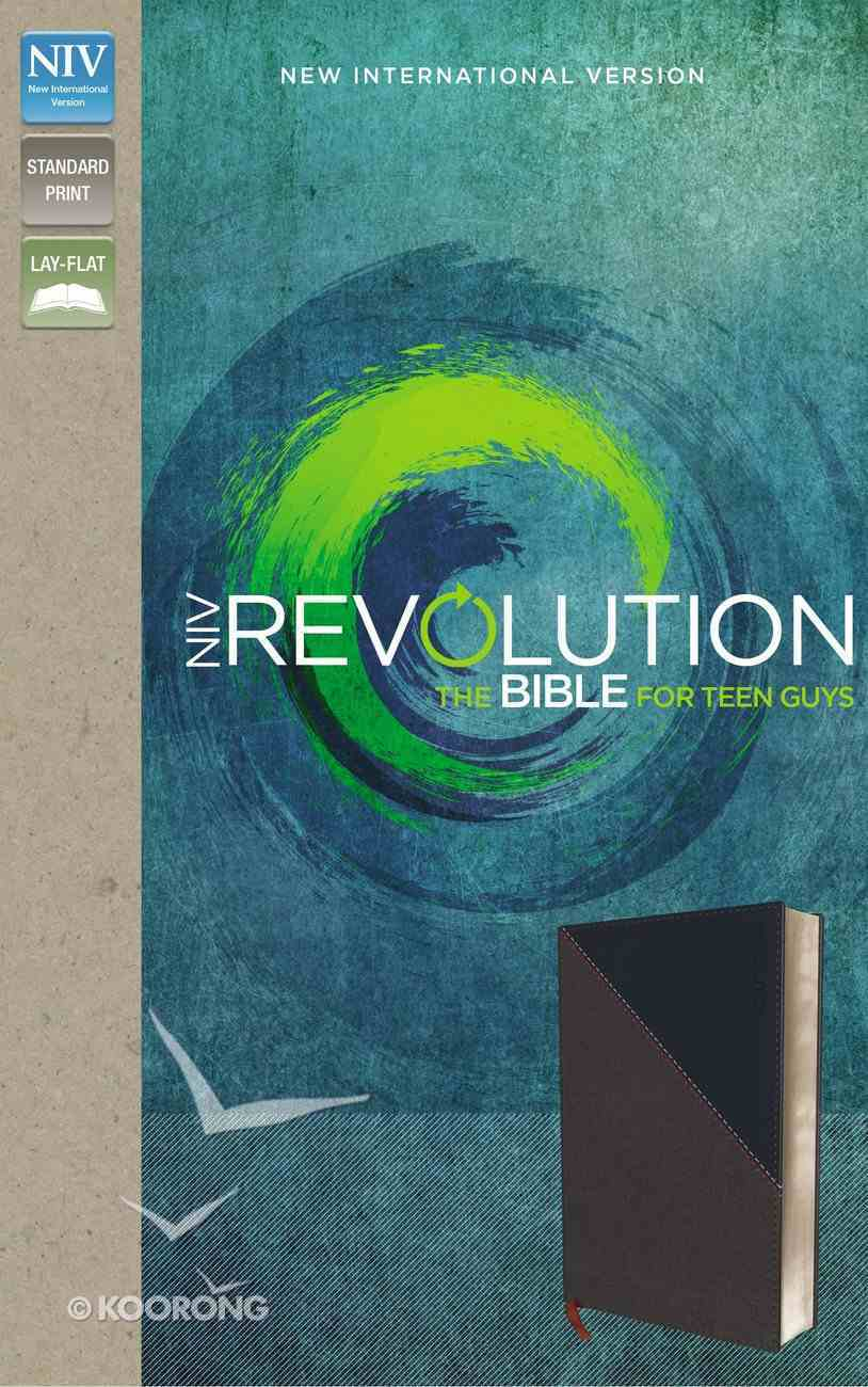 NIV Revolution Bible For Teen Guys Gray/Navy (Black Letter Edition) Premium Imitation Leather