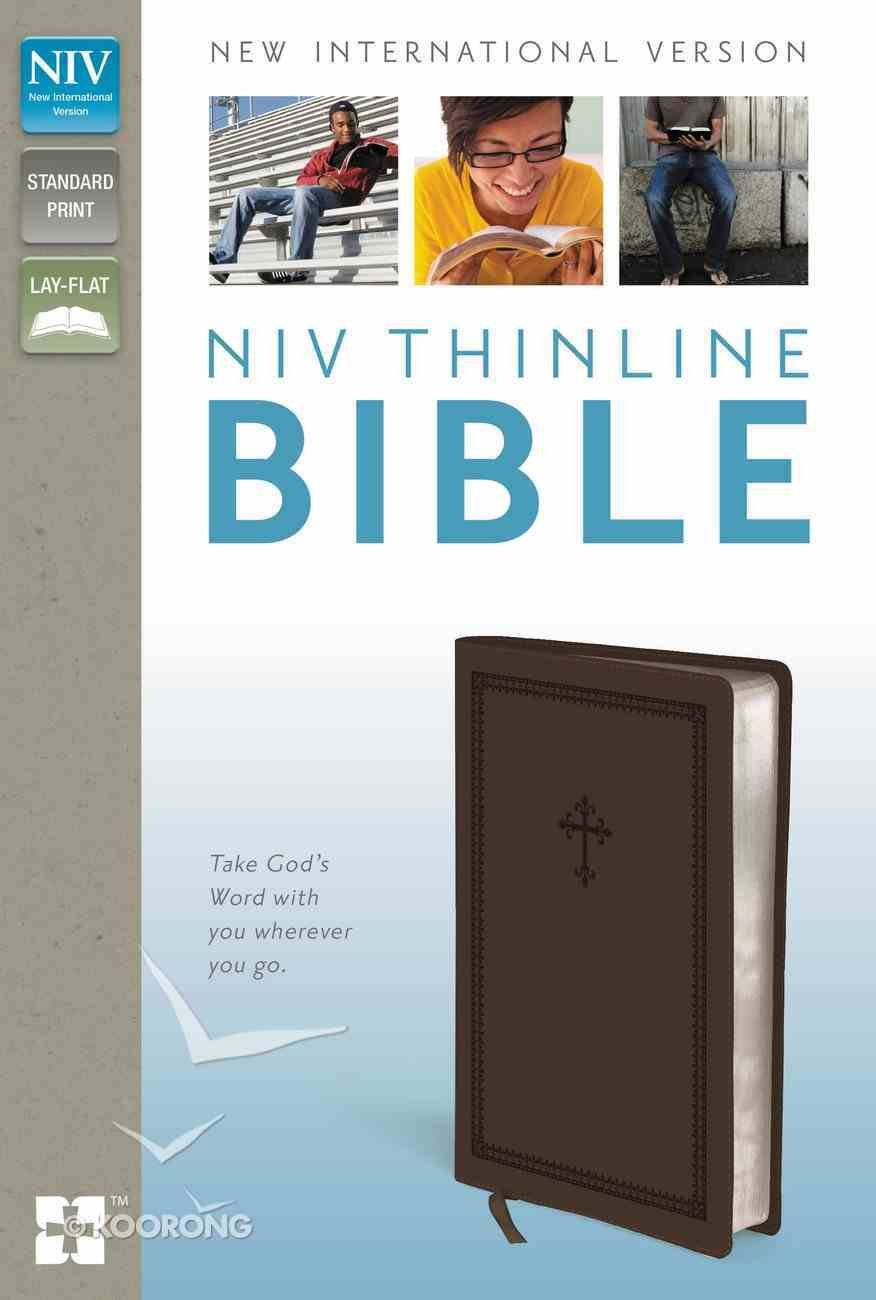 NIV Thinline Bible Cross Chocolate Duo-Tone (Red Letter Edition) Imitation Leather