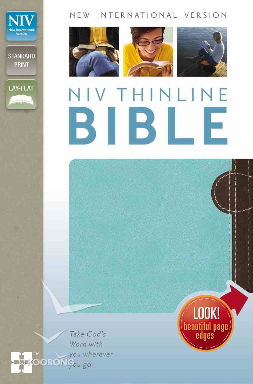NIV Thinline Bible Italian Chocolate/Turquoise Duo-Tone (Red Letter Edition) Imitation Leather