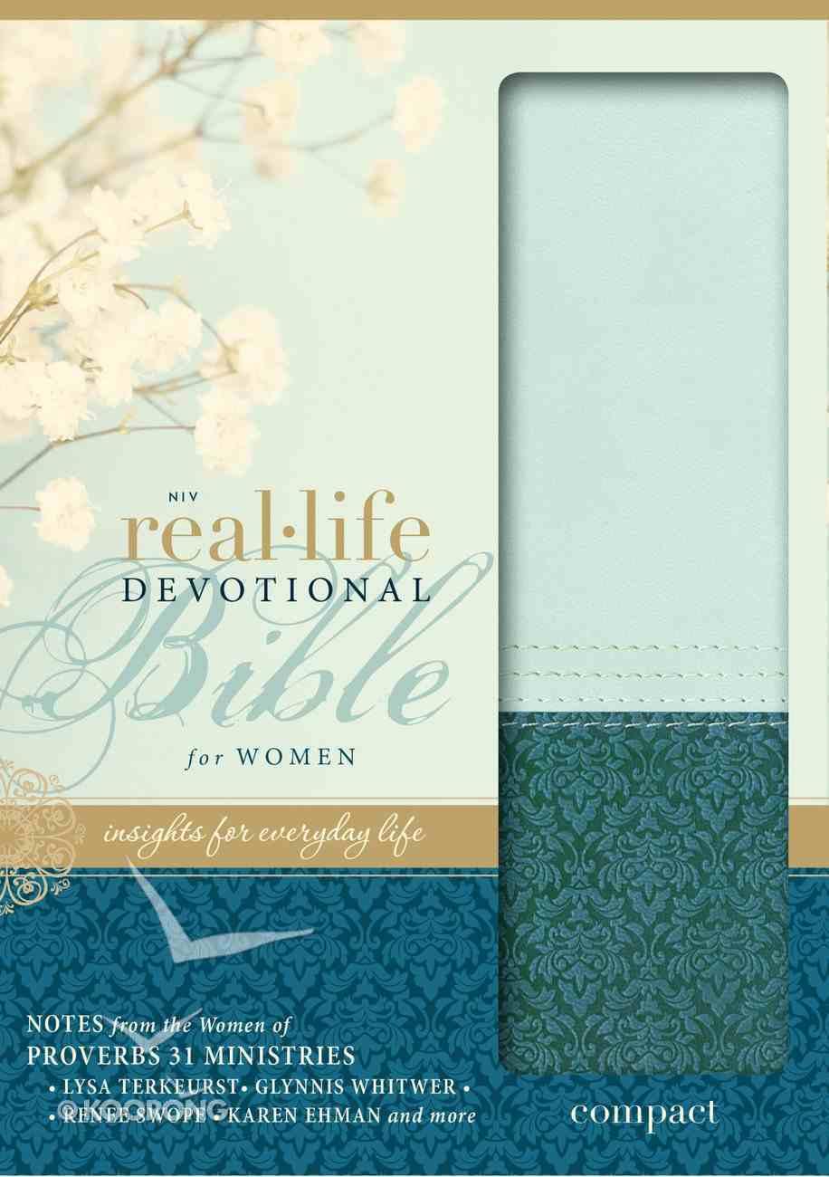 NIV Real-Life Devotional Compact Bible For Women Sea Glass/Caribbean Blue (Black Letter Edition) Premium Imitation Leather