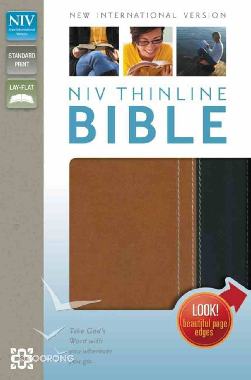 NIV Thinline Bible Italian Duo-Tone Caramel/Black (Red Letter Edition) Imitation Leather