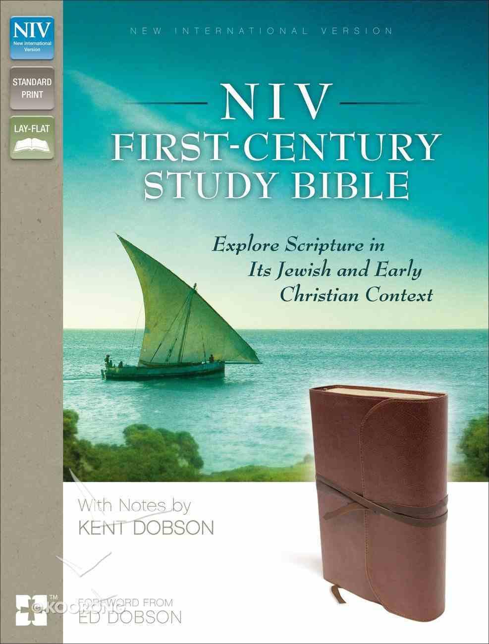 NIV First-Century Study Bible Brown (Black Letter Edition) Premium Imitation Leather