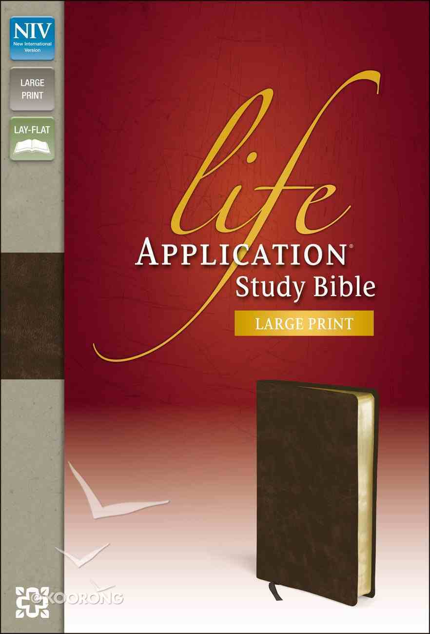 NIV Life Application Study Large Print Brown (Red Letter Edition) Bonded Leather