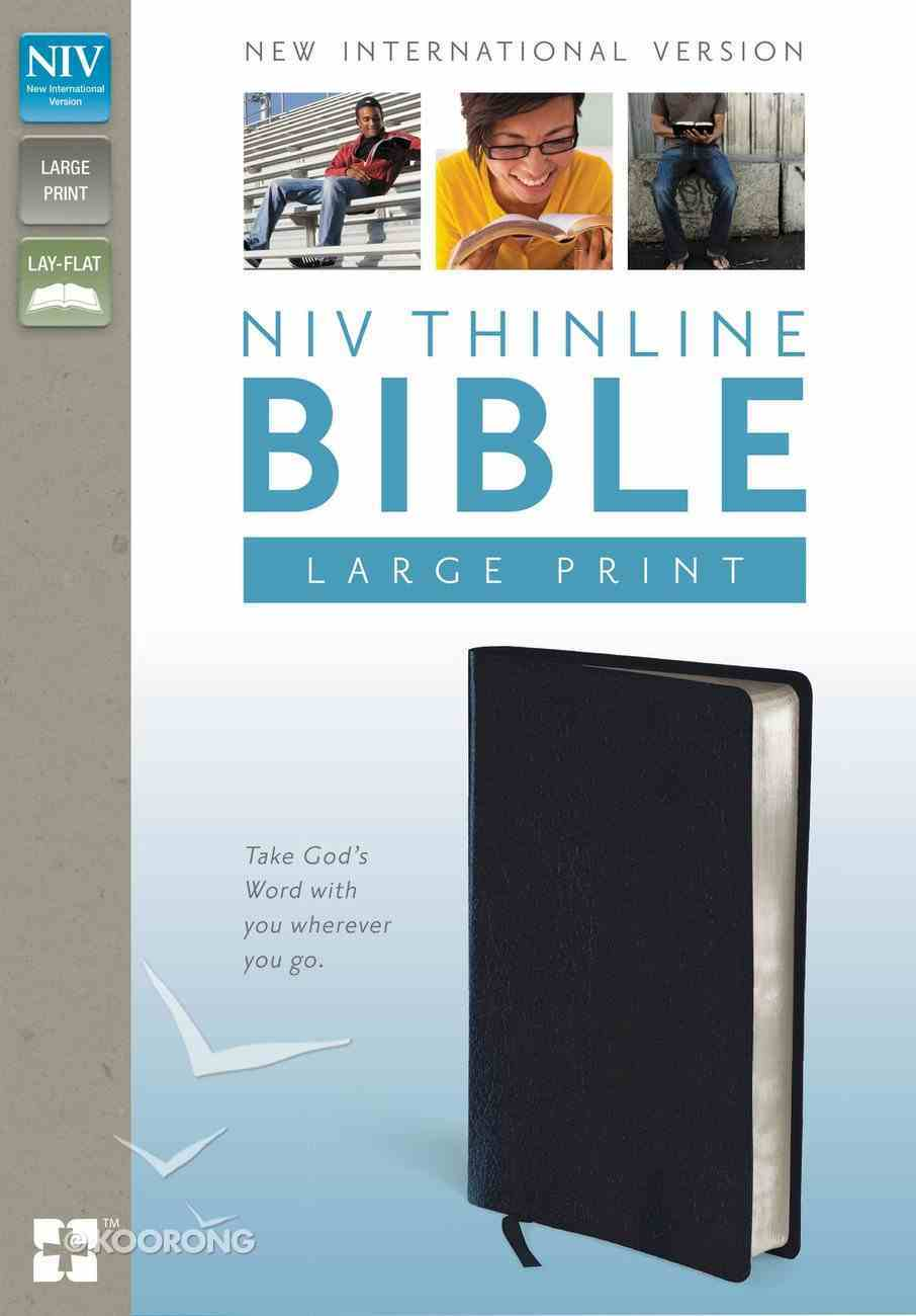 NIV Large Print Thinline Bible Navy (Red Letter Edition) Bonded Leather
