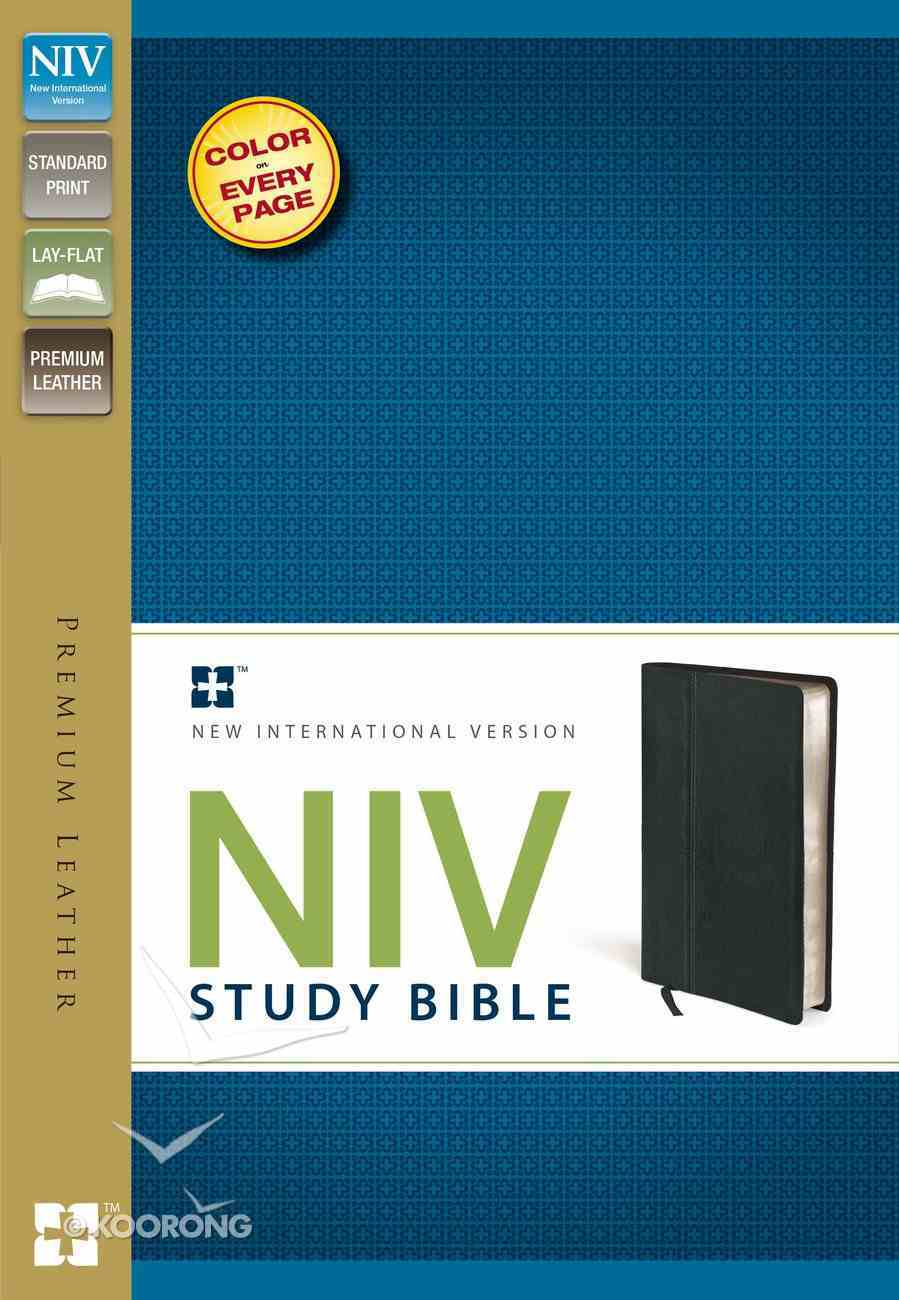 NIV Study Bible Black (Red Letter Edition) Genuine Leather