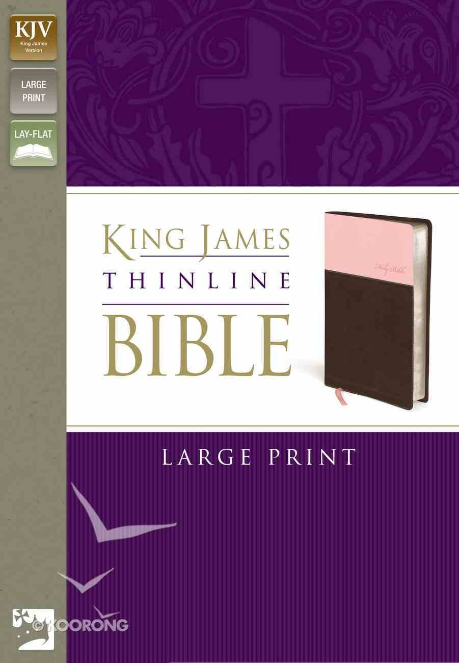 KJV Large Print Thinline Pink/Chocolate (Red Letter Edition) Imitation Leather