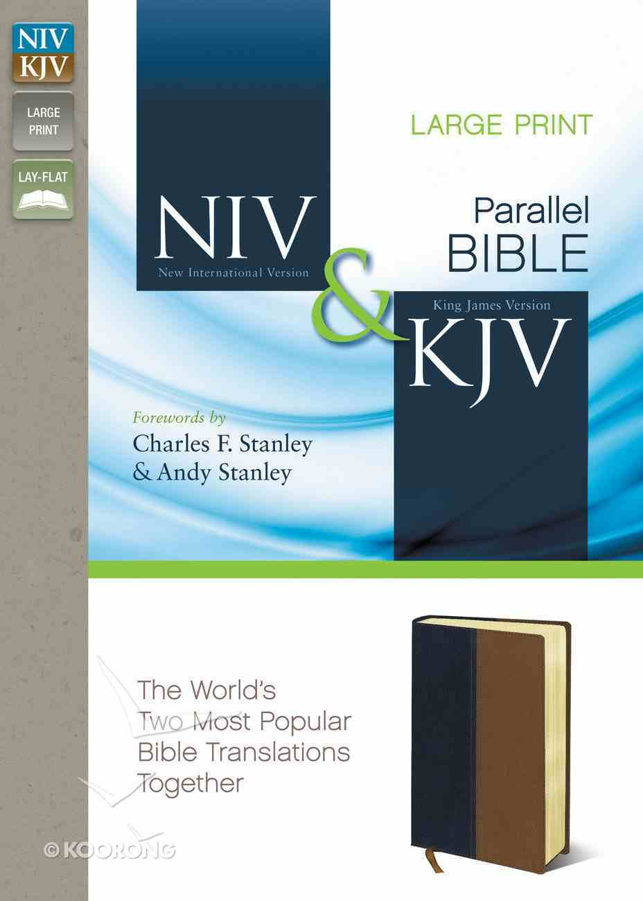 Niv/Kjv Side-By-Side Bible Large Print Navy/Tan (Black Letter Edition) Premium Imitation Leather