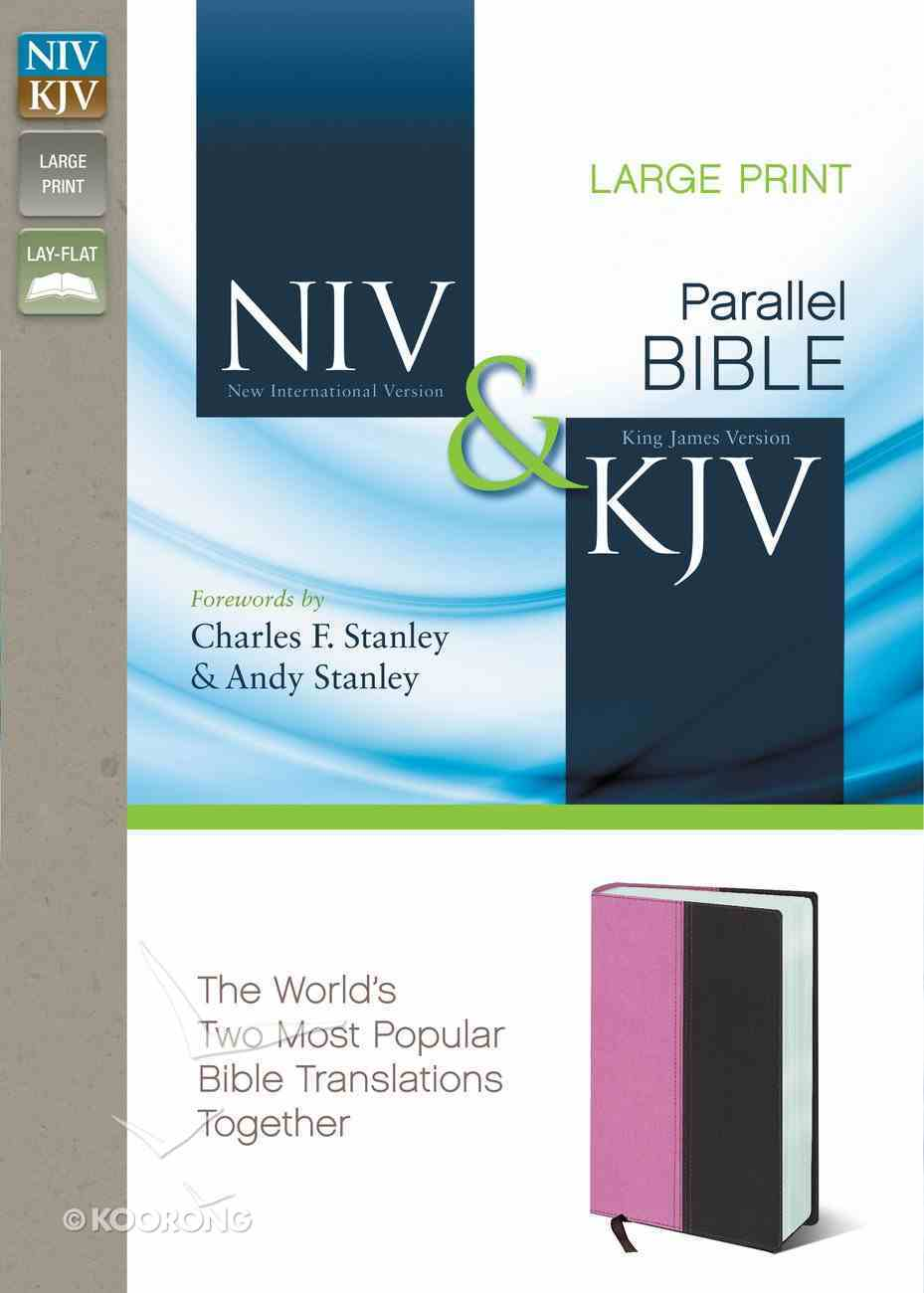 Niv/Kjv Side By Side Bible Large Print Orchid/Chocolate (Black Letter Edition) Premium Imitation Leather