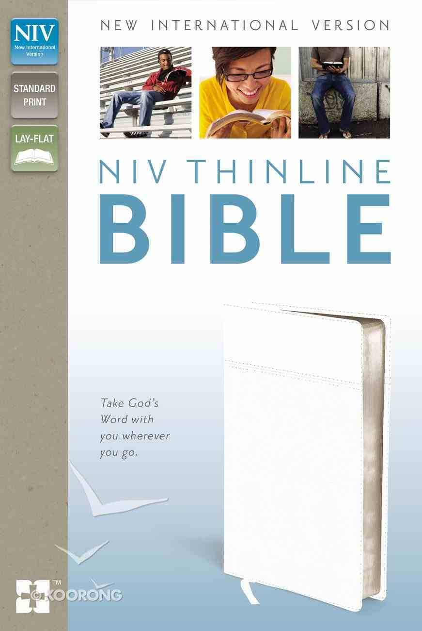 NIV Thinline Bible White (Red Letter Edition) Imitation Leather