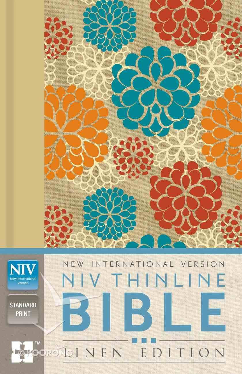 NIV Thinline Bible Linen Edition Colourful Floral Design (Red Letter Edition) Hardback