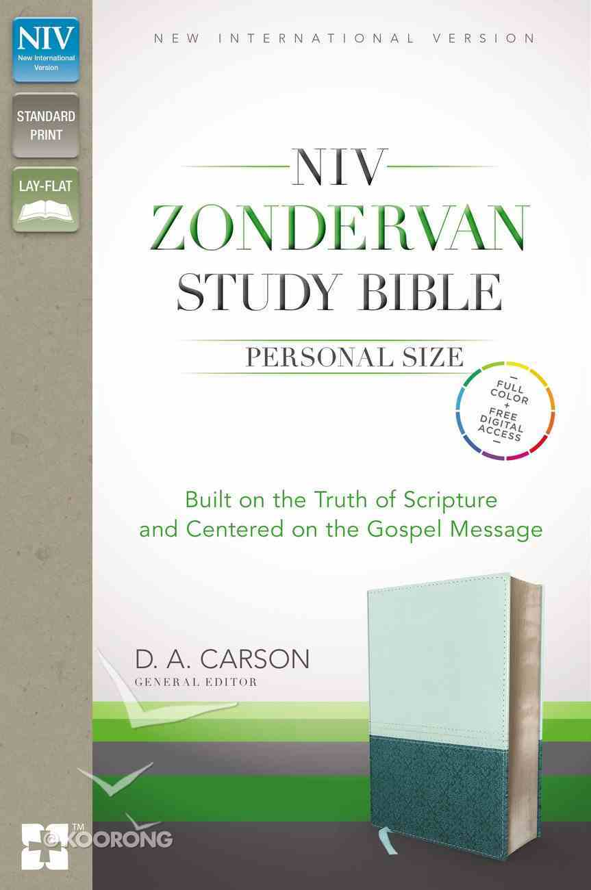 NIV Zondervan Study Personal Size Indexed Green/Blue (Black Letter Edition) Premium Imitation Leather
