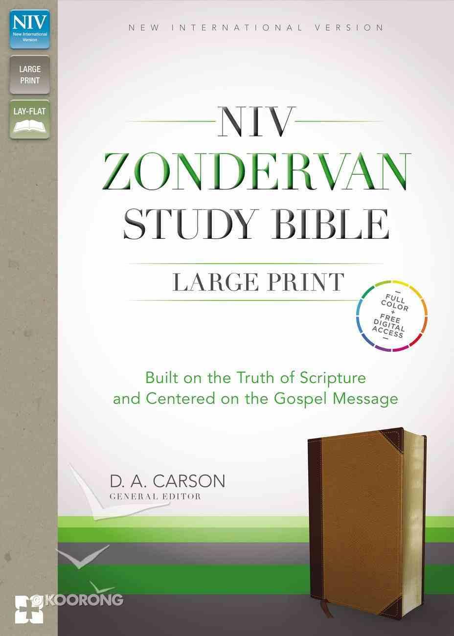 NIV Zondervan Study Bible Large Print Indexed Brown/Tan (Black Letter Edition) Premium Imitation Leather