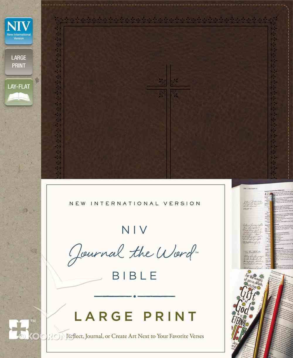 NIV Journal the Word Bible Large Print Brown (Black Letter Edition) Premium Imitation Leather