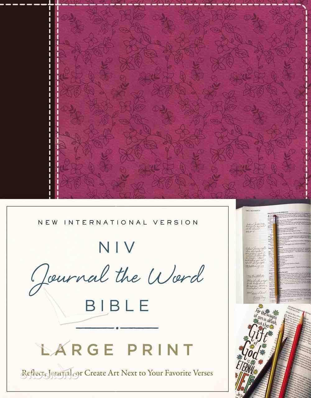 NIV Journal the Word Bible Large Print Pink/Brown (Black Letter Edition) Premium Imitation Leather