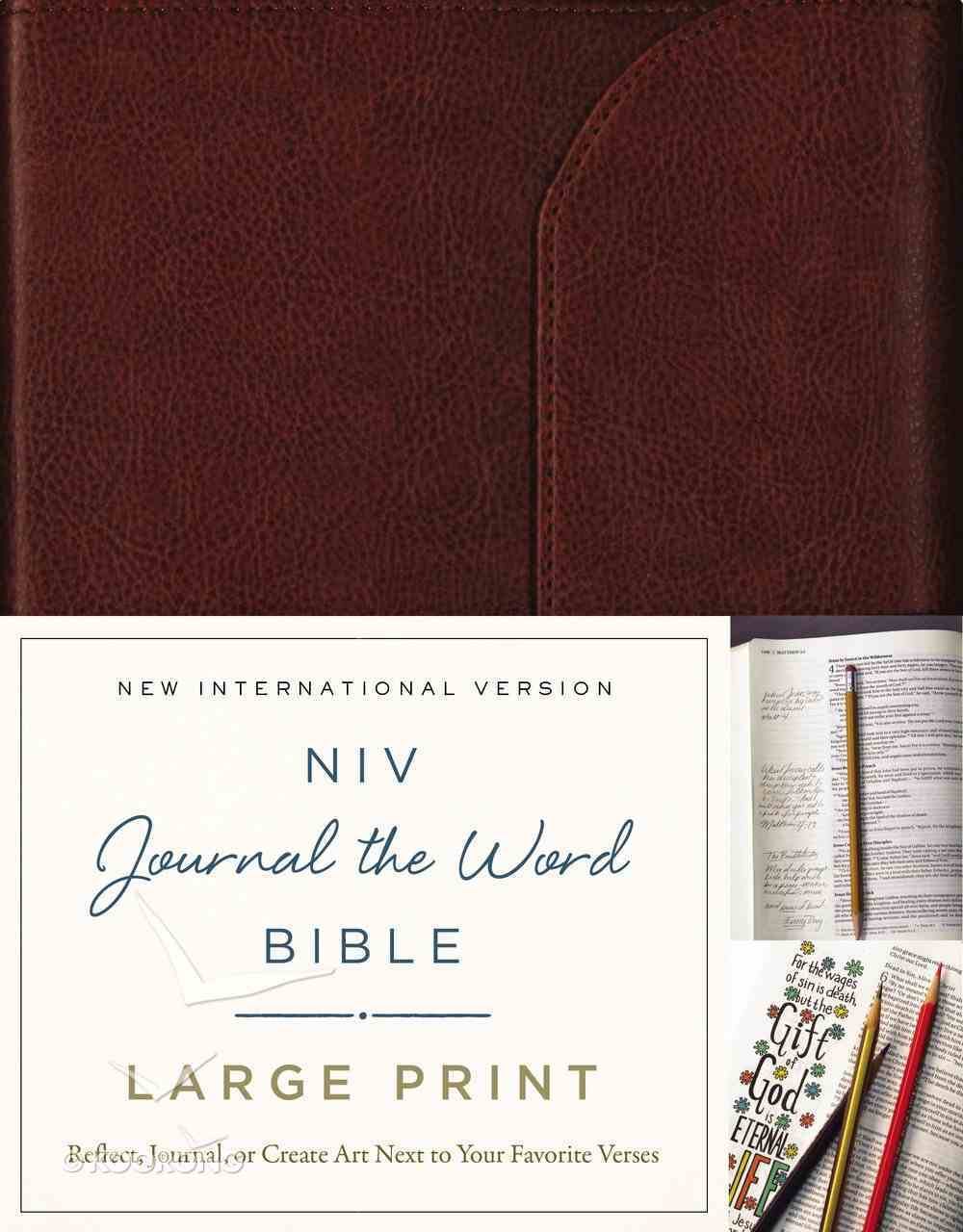 NIV Journal the Word Bible Large Print Brown (Black Letter Edition) Genuine Leather