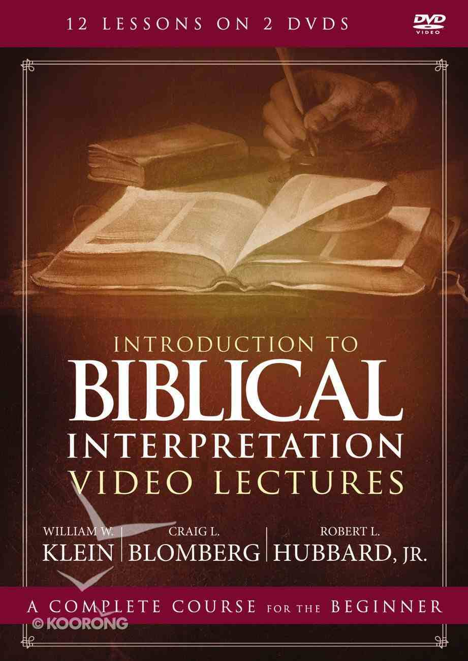 Introduction to Biblical Interpretation (Video Lectures) (Zondervan Academic Course Dvd Study Series) DVD