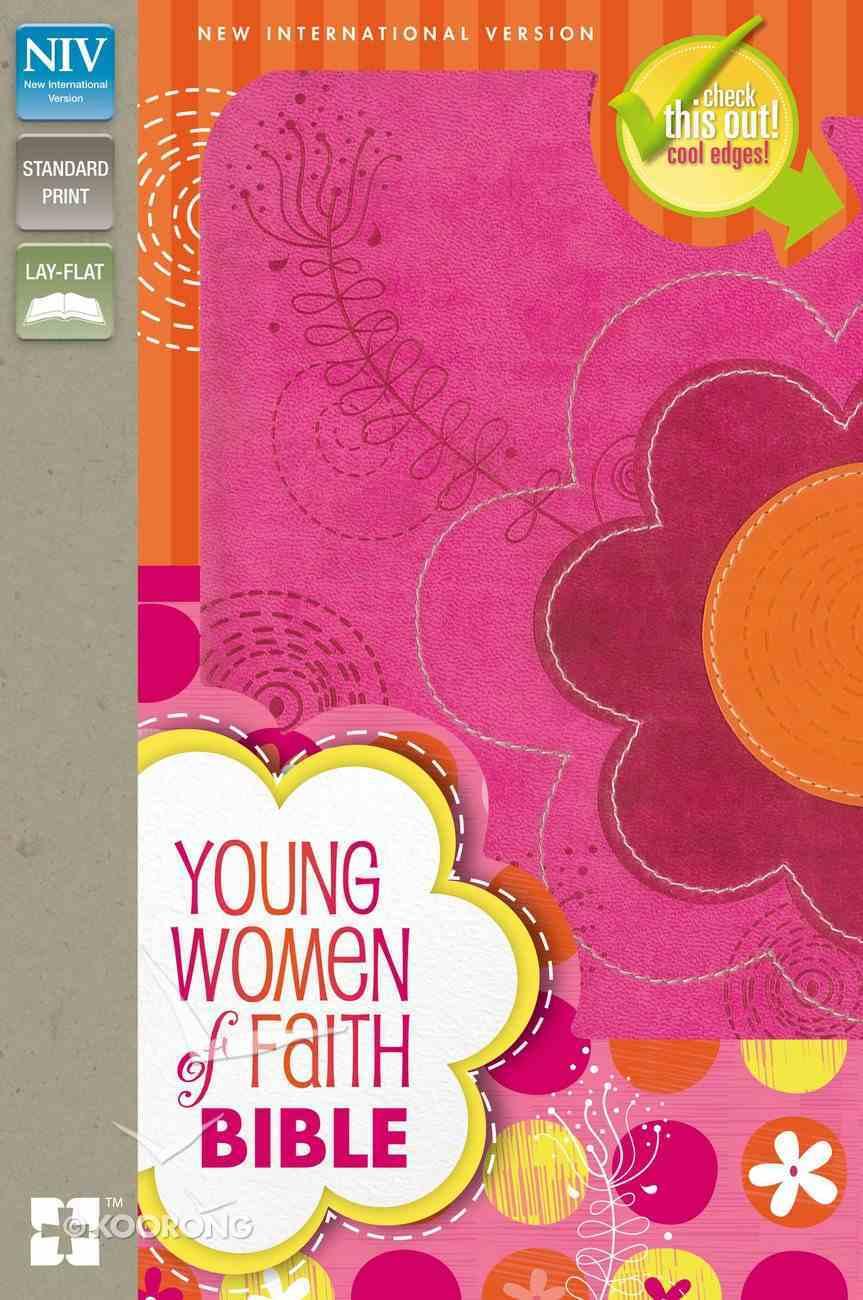 NIV Young Women of Faith Bible Pink/Orange Flowers (Black Letter Edition) Premium Imitation Leather