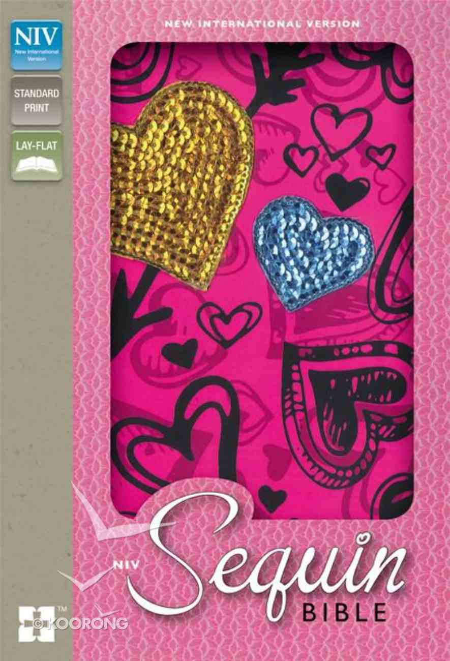 NIV Sequin Bible Hot Pink Hearts (Red Letter Edition) Hardback